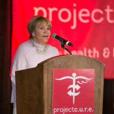 Bonnie Bishop speaking to 1000 people at Project CURE First Ladies Event
